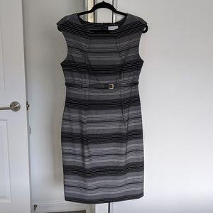 Calvin Klein Black and Grey Stripped Dress